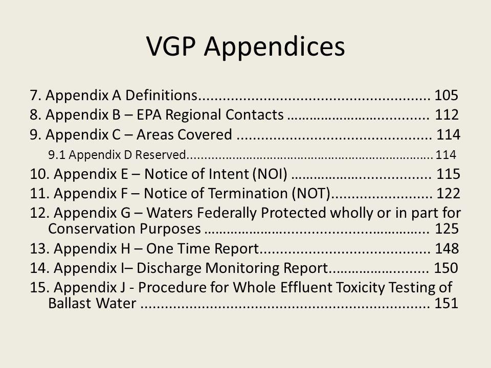 VGP Appendices 7. Appendix A Definitions.........................................................