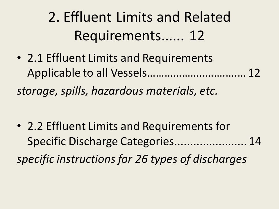 2. Effluent Limits and Related Requirements......