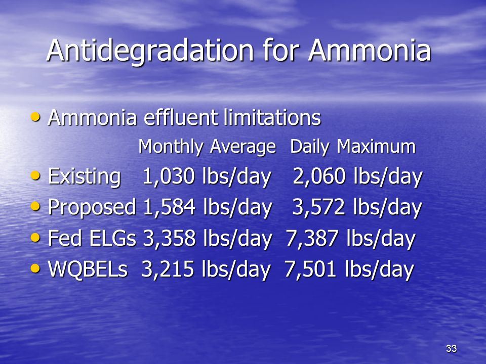 33 Antidegradation for Ammonia Ammonia effluent limitations Ammonia effluent limitations Monthly Average Daily Maximum Monthly Average Daily Maximum E