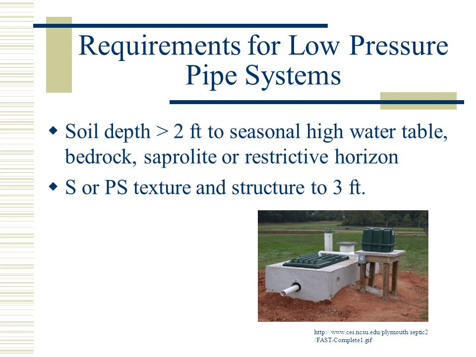 Requirements for Low Pressure Pipe Systems  Soil depth > 2 ft to seasonal high water table, bedrock, saprolite or restrictive horizon  S or PS texture and structure to 3 ft.