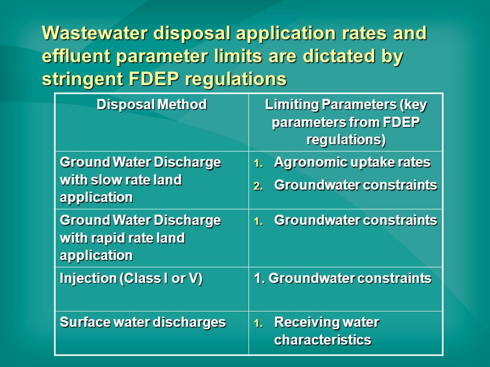 Wastewater disposal application rates and effluent parameter limits are dictated by stringent FDEP regulations Disposal Method Limiting Parameters (key parameters from FDEP regulations) Ground Water Discharge with slow rate land application 1.