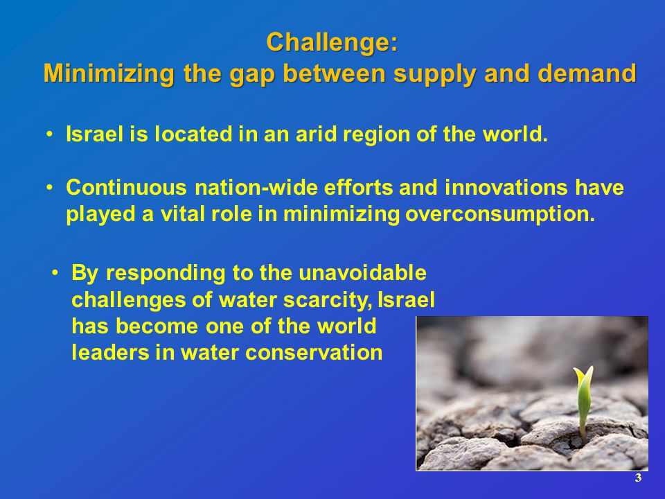 3 Israel is located in an arid region of the world.