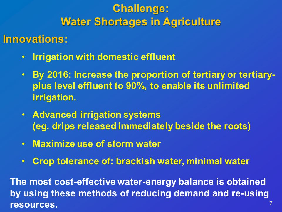 8 Next Steps (Improvements Within 5-7 Years): Israel will increase use of the total national effluent produced each year from 80% to 90% Percent of National Effluent Used % Effluent Quantity for Irrigation: