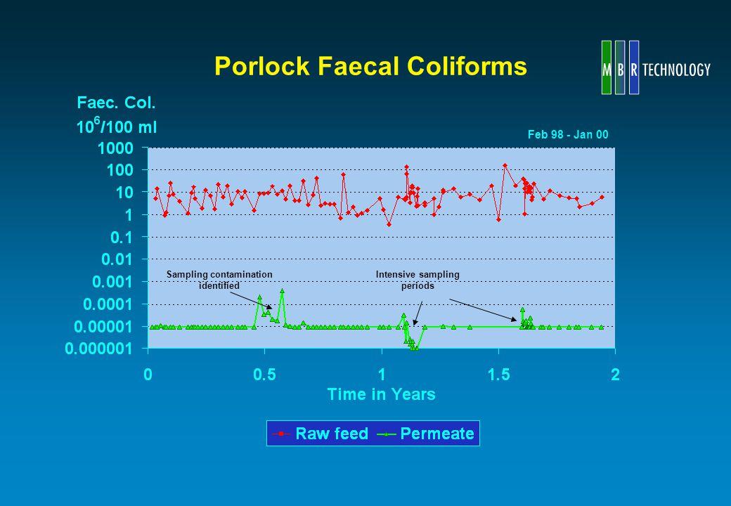 Porlock Faecal Coliforms Feb 98 - Jan 00 Sampling contamination identified Intensive sampling periods