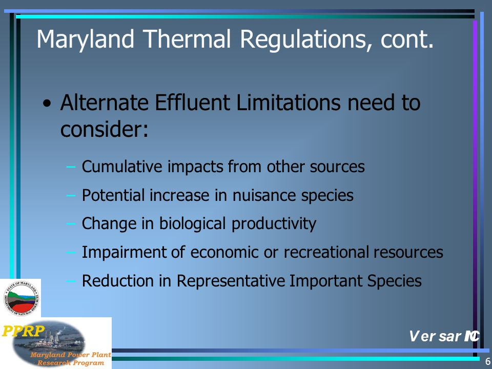 6 Maryland Thermal Regulations, cont.