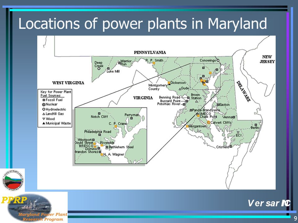 9 Locations of power plants in Maryland