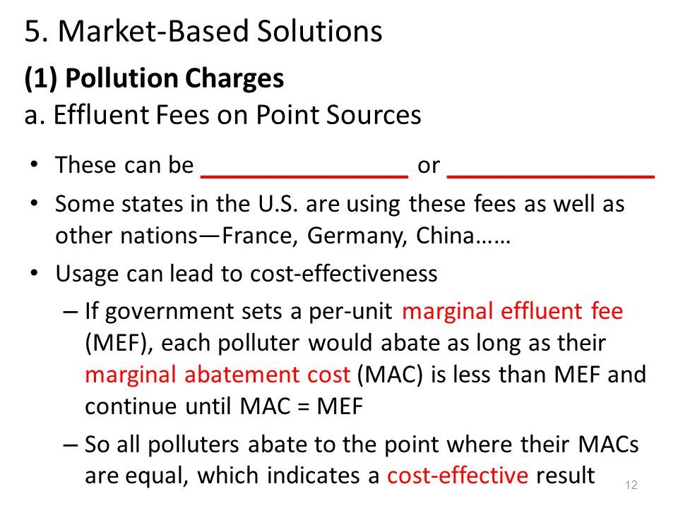 5. Market-Based Solutions (1) Pollution Charges a.