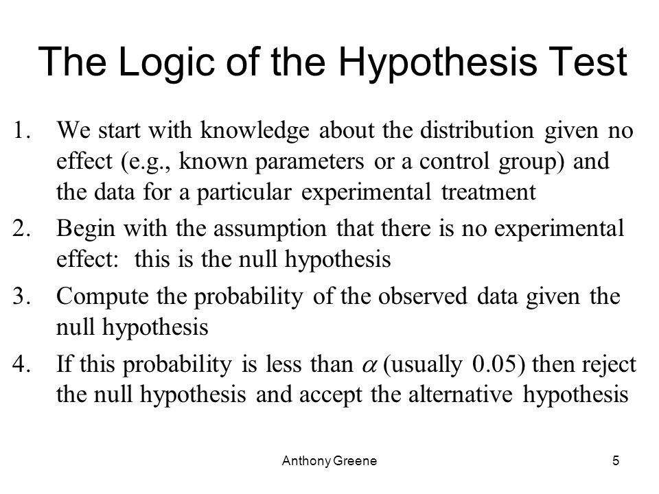 Anthony Greene5 The Logic of the Hypothesis Test 1.We start with knowledge about the distribution given no effect (e.g., known parameters or a control group) and the data for a particular experimental treatment 2.Begin with the assumption that there is no experimental effect: this is the null hypothesis 3.Compute the probability of the observed data given the null hypothesis 4.If this probability is less than  (usually 0.05) then reject the null hypothesis and accept the alternative hypothesis