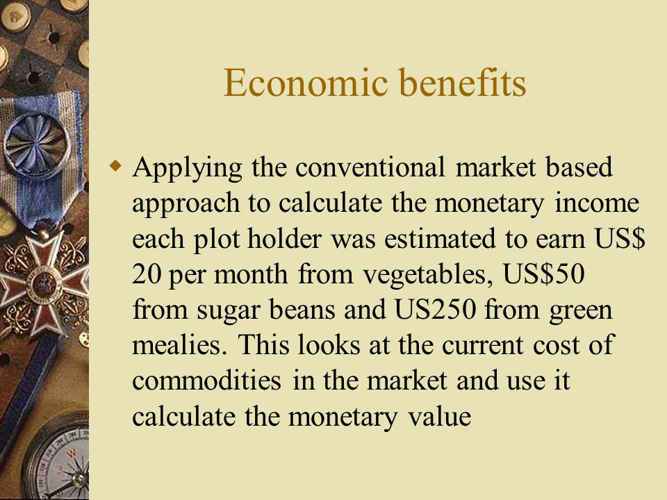 Economic benefits  Applying the conventional market based approach to calculate the monetary income each plot holder was estimated to earn US$ 20 per month from vegetables, US$50 from sugar beans and US250 from green mealies.