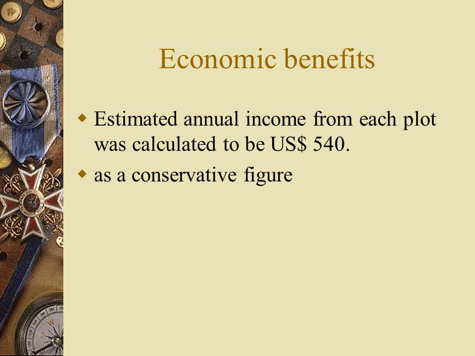 Economic benefits  Estimated annual income from each plot was calculated to be US$ 540.  as a conservative figure