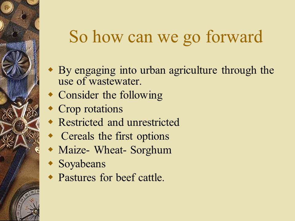 So how can we go forward  By engaging into urban agriculture through the use of wastewater.