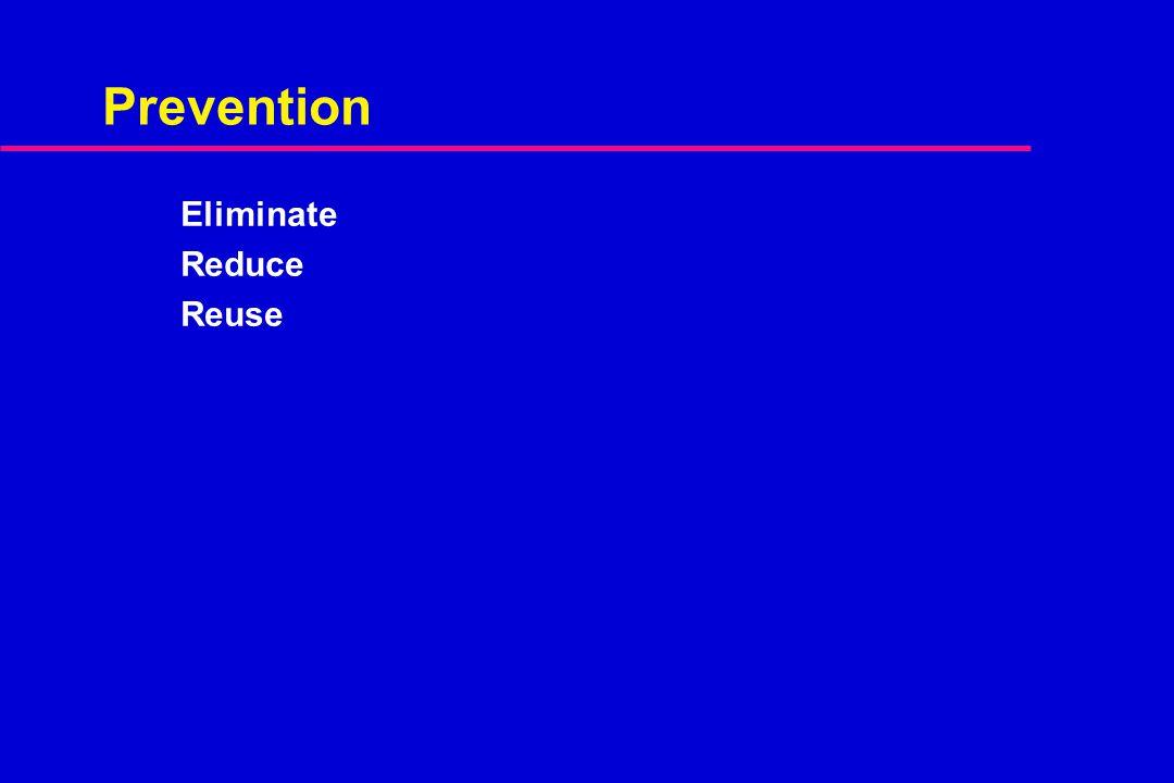 Prevention Eliminate Reduce Reuse