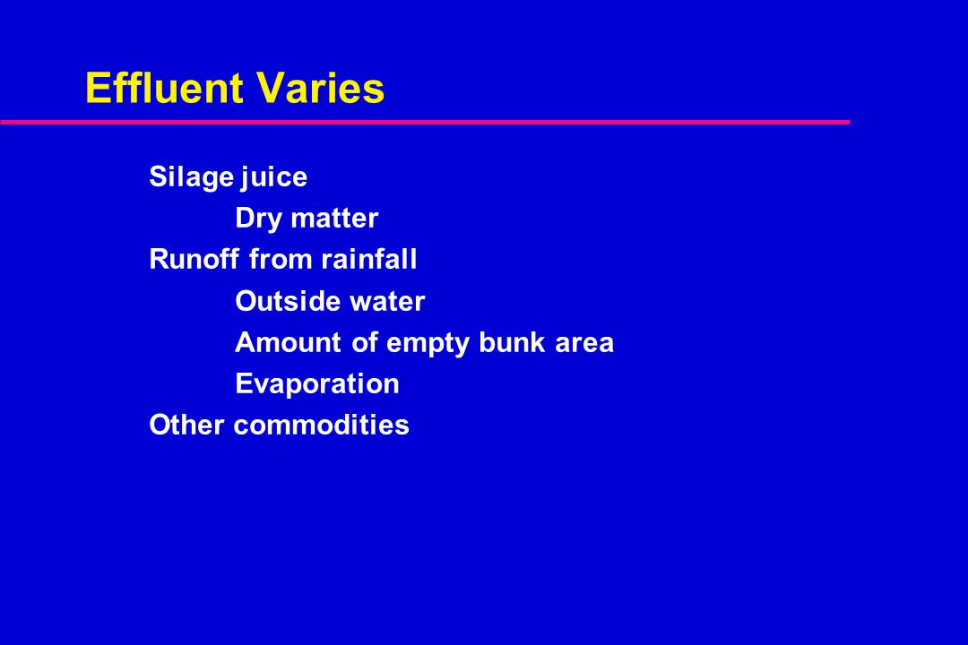 Effluent Varies Silage juice Dry matter Runoff from rainfall Outside water Amount of empty bunk area Evaporation Other commodities