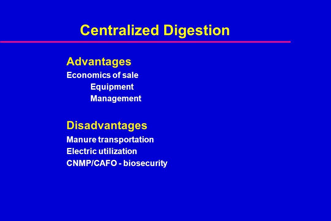 Centralized Digestion Advantages Economics of sale Equipment Management Disadvantages Manure transportation Electric utilization CNMP/CAFO - biosecurity