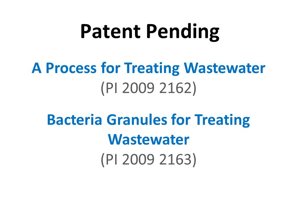 Patent Pending A Process for Treating Wastewater (PI 2009 2162) Bacteria Granules for Treating Wastewater (PI 2009 2163) INSPIRING CREATIVE AND INNOVA