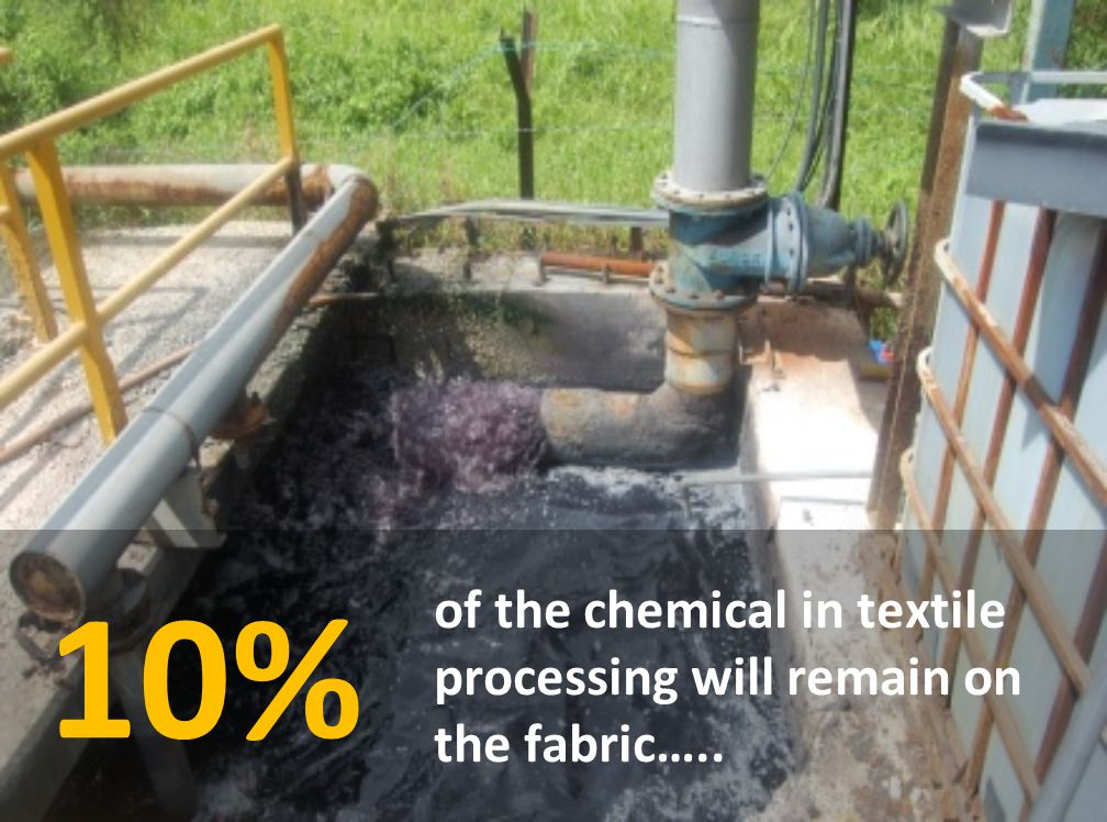 of the chemical in textile processing will remain on the fabric….. 10%