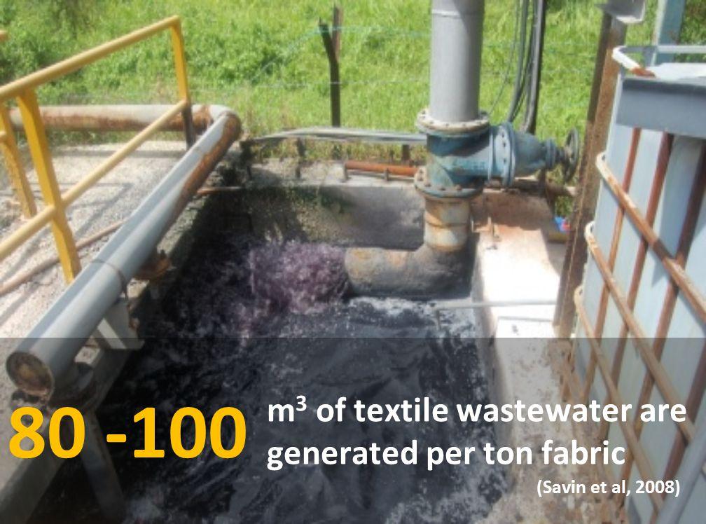 m 3 of textile wastewater are generated per ton fabric 80 -100 (Savin et al, 2008)