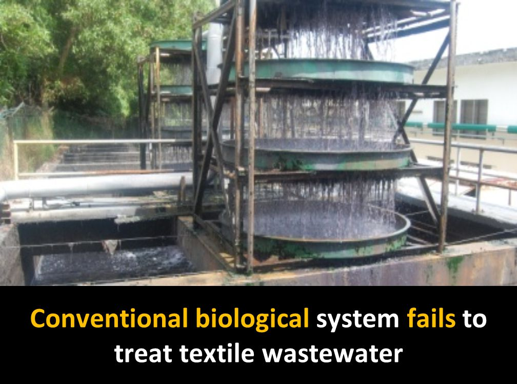 Conventional biological system fails to treat textile wastewater