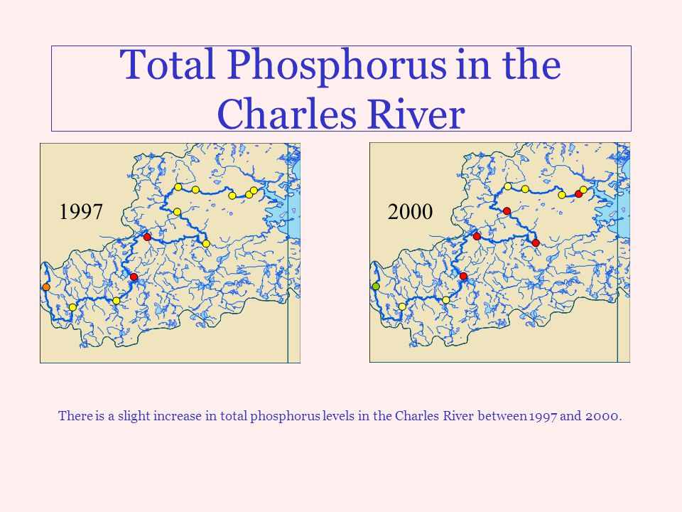 Total Phosphorus in the Charles River There is a slight increase in total phosphorus levels in the Charles River between 1997 and 2000. 19972000