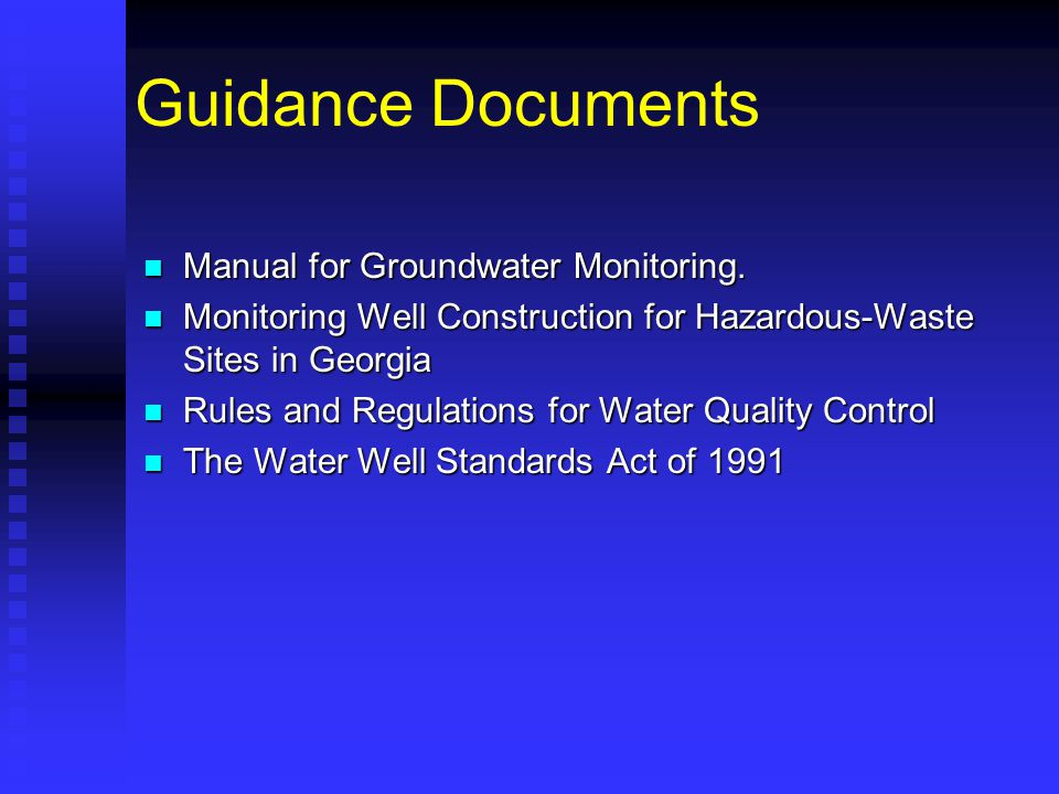 Guidance Documents Manual for Groundwater Monitoring.