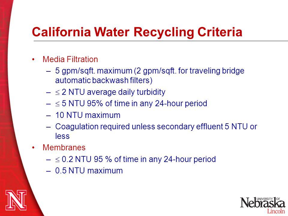 California Water Recycling Criteria Media Filtration –5 gpm/sqft. maximum (2 gpm/sqft. for traveling bridge automatic backwash filters) –  2 NTU aver