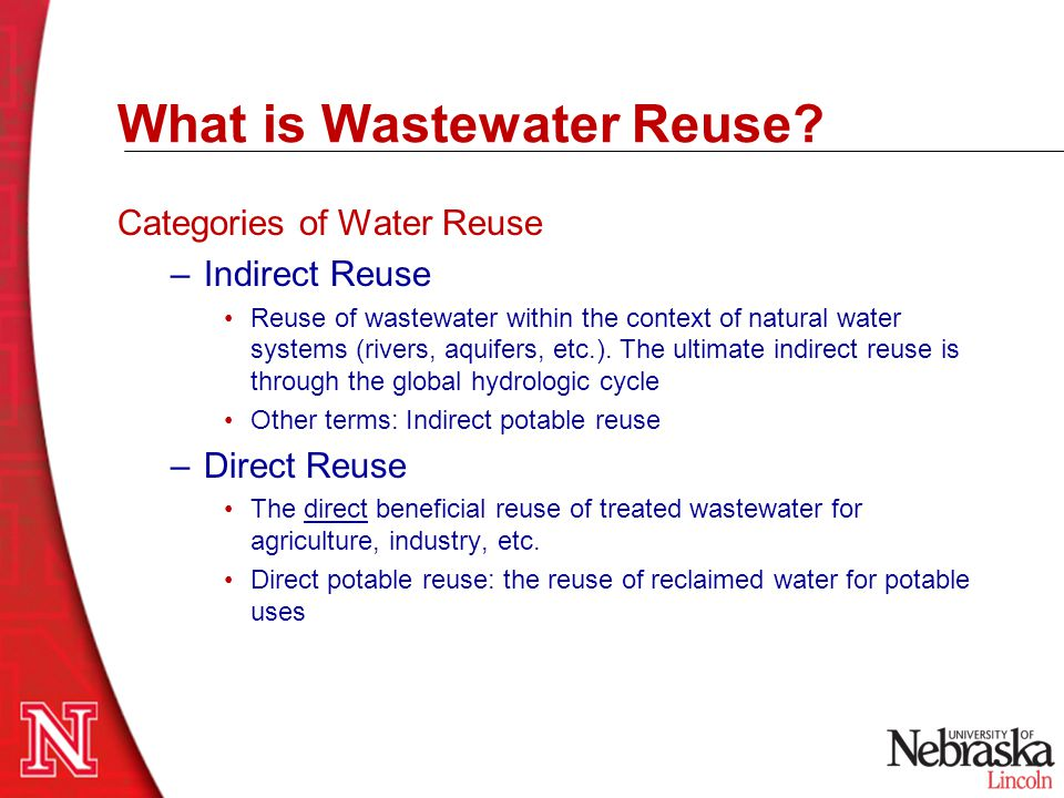 Driving Factors for Water Reuse Water Availability Water Consumption Water Quality