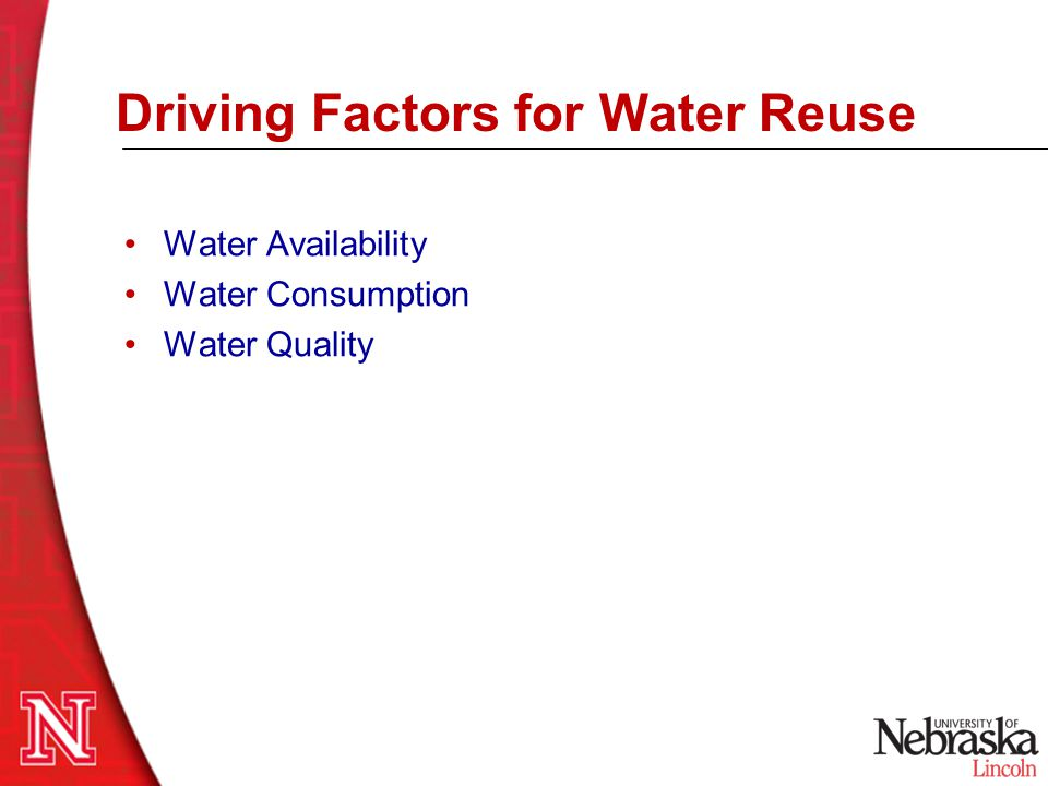 Some US Water Reuse Criteria California Department of Health: –Water Recycling –Groundwater Recharge … the water resources of the State (must) be put to beneficial use to the fullest extent of which they are capable, and that the waste or unreasonable use or unreasonable method of use of water be prevented, and that the conservation of such waters is to be exercised… –Reuse goal: 1,200 million cubic meters annually by 2010