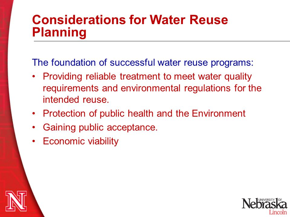 Public Health and Water Quality Considerations  Physical water quality considerations  Turbidity, color, etc.