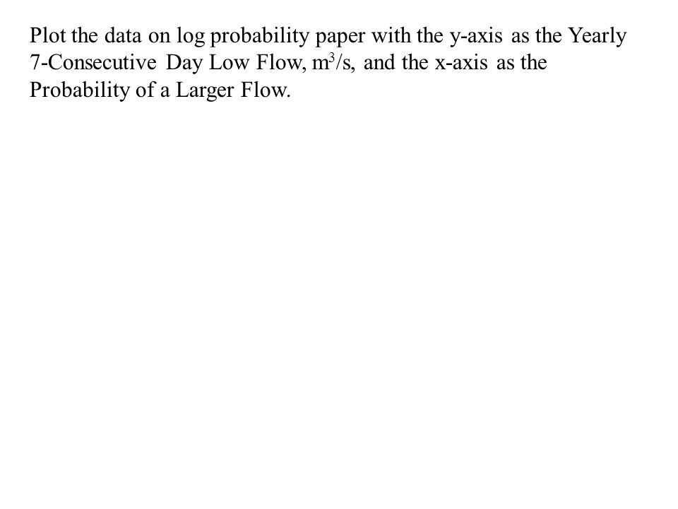 Plot the data on log probability paper with the y-axis as the Yearly 7-Consecutive Day Low Flow, m 3 /s, and the x-axis as the Probability of a Larger Flow.