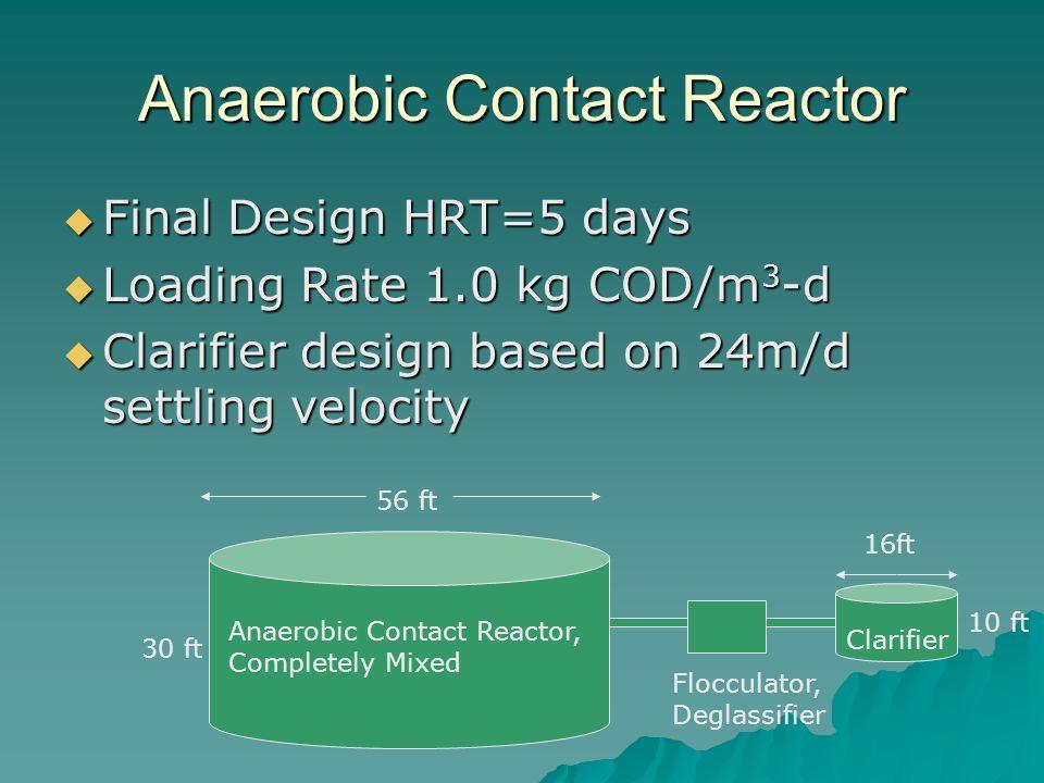 Anaerobic Contact Reactor  Final Design HRT=5 days  Loading Rate 1.0 kg COD/m 3 -d  Clarifier design based on 24m/d settling velocity 30 ft 56 ft 1