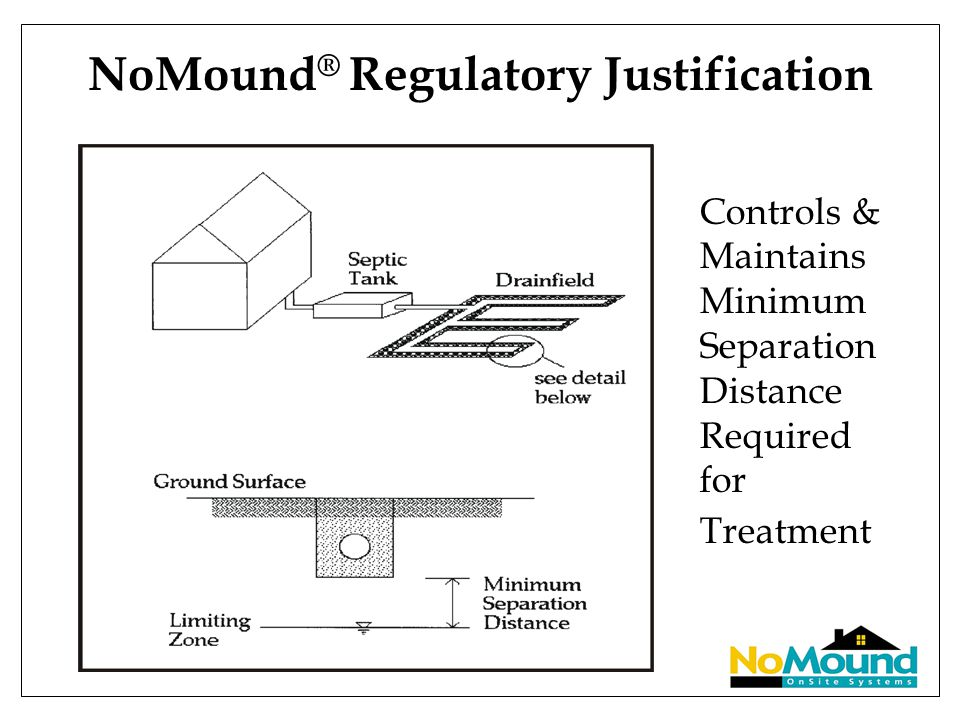 NoMound ® Regulatory Justification Controls & Maintains Minimum Separation Distance Required for Treatment