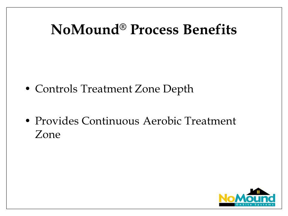 NoMound ® Process Benefits Controls Treatment Zone Depth Provides Continuous Aerobic Treatment Zone