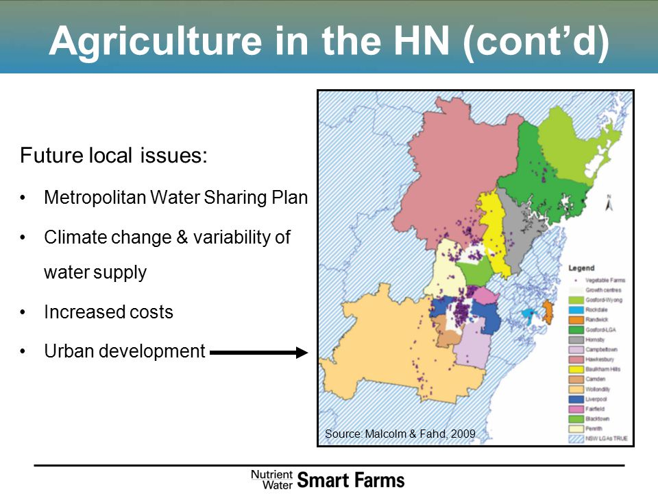 Agriculture in the HN (cont'd) Future local issues: Metropolitan Water Sharing Plan Climate change & variability of water supply Increased costs Urban