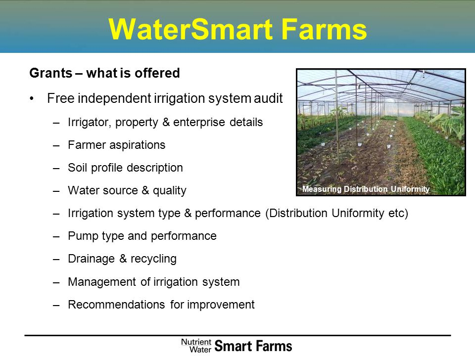 WaterSmart Farms Grants – what is offered Free independent irrigation system audit –Irrigator, property & enterprise details –Farmer aspirations –Soil profile description –Water source & quality –Irrigation system type & performance (Distribution Uniformity etc) –Pump type and performance –Drainage & recycling –Management of irrigation system –Recommendations for improvement Measuring Distribution Uniformity