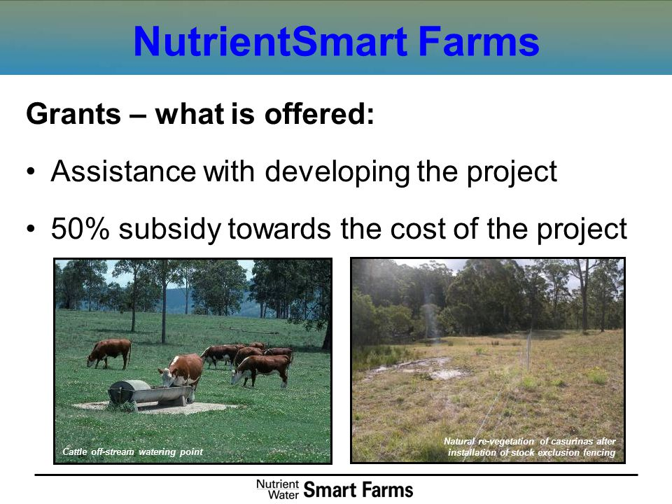 NutrientSmart Farms Grants – what is offered: Assistance with developing the project 50% subsidy towards the cost of the project Cattle off-stream wat
