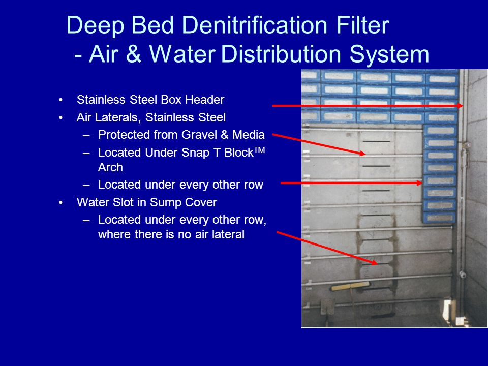 Deep Bed Denitrification Filter - Methanol (carbon) System Tank Volume Standard 21-30 Day Supply @ Average Flow Tank Continuous Level Measurement Tank Low and High Level Methanol Pumps Diaphragm Peristaltic