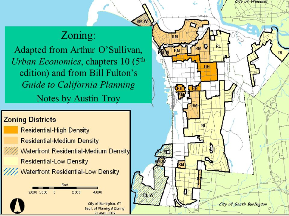 Land Use Planning Tools Lecture 3: Economics of Zoning Zoning: Adapted from Arthur O'Sullivan, Urban Economics, chapters 10 (5 th edition) and from Bi