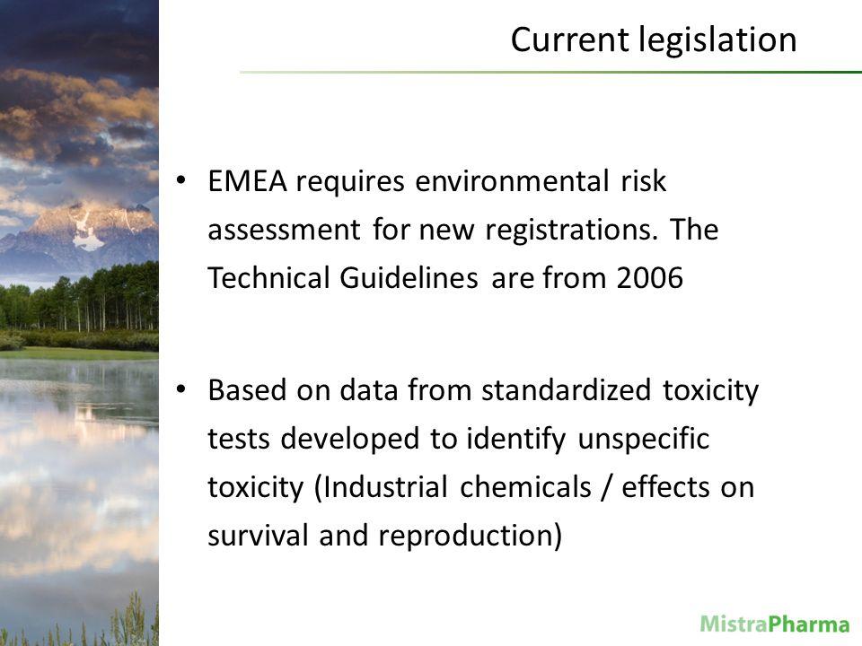 Christina Rudén Current legislation EMEA requires environmental risk assessment for new registrations.