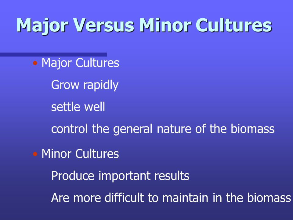 Major Versus Minor Cultures Major Cultures Grow rapidly settle well control the general nature of the biomass Minor Cultures Produce important results