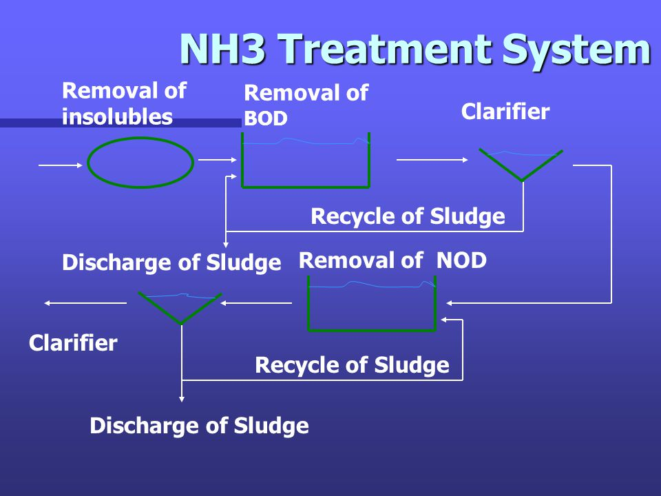 NH3 Treatment System Removal of insolubles Removal of BOD Removal of NOD Clarifier Recycle of Sludge Discharge of Sludge