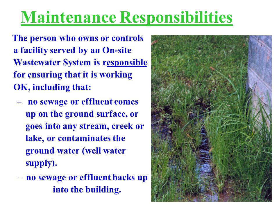The person who owns or controls a facility served by an On-site Wastewater System is responsible for ensuring that it is working OK, including that: – no sewage or effluent comes up on the ground surface, or goes into any stream, creek or lake, or contaminates the ground water (well water supply).