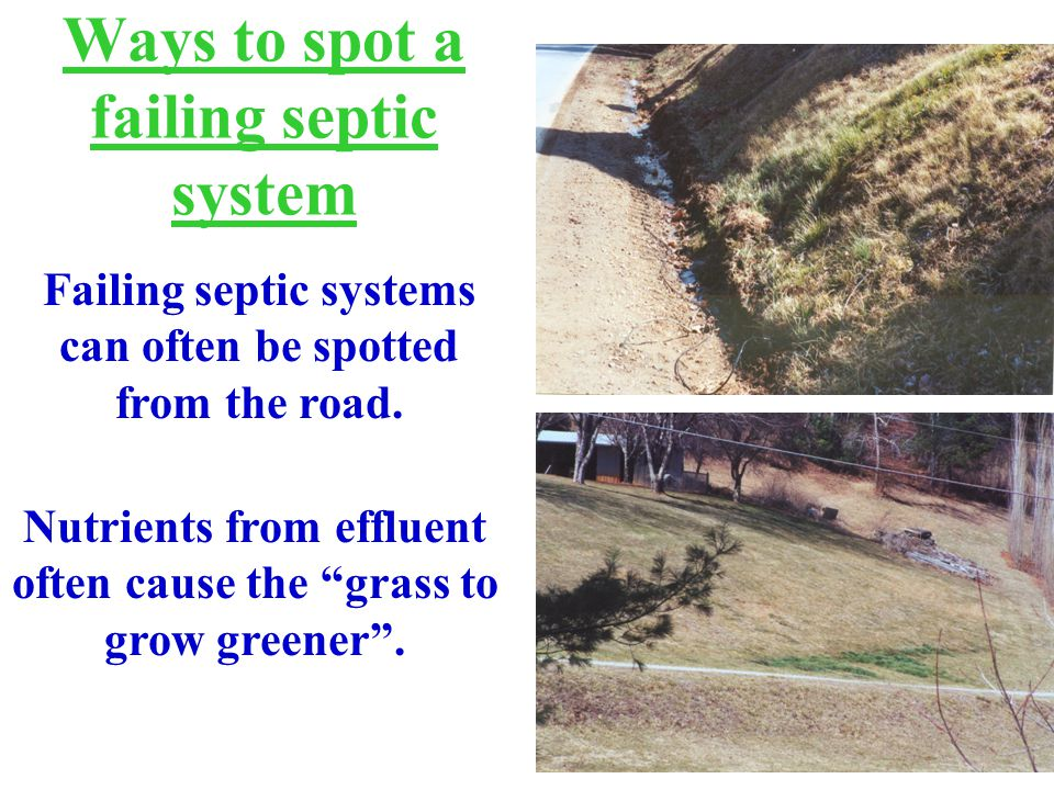 Ways to spot a failing septic system Failing septic systems can often be spotted from the road.
