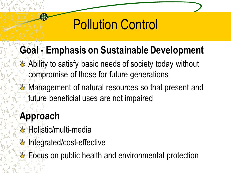 Summary Ecotoxicology provides the scientific basis for environmental protection policy –Determine fate/behavior of contaminants –risk assessment/management –water quality standard setting Emerging science, holistic, multi-discipline approach needed to: –further elucidate the vital signs of ecosystem health –diagnose early warning symptoms of ecosystem stress –assess the sensitivity and long-term response of ecosystems to low doses of contaminants; and, –formulate proper treatment protocols for ecosystem rehabilitation