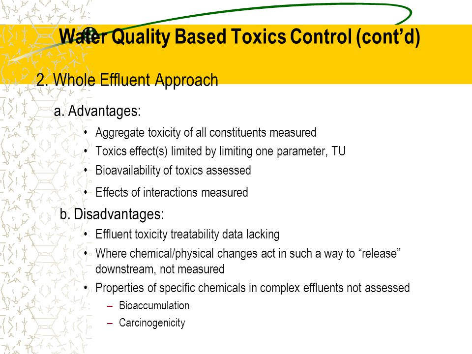 2. Whole Effluent Approach a.