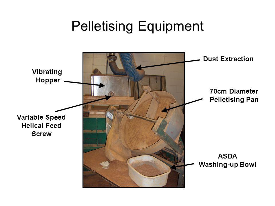 Pelletising Equipment Vibrating Hopper Variable Speed Helical Feed Screw Dust Extraction 70cm Diameter Pelletising Pan ASDA Washing-up Bowl