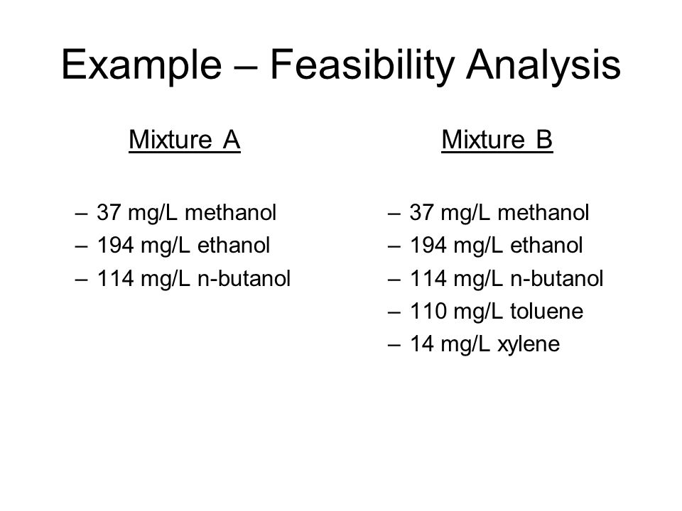 Example – Feasibility Analysis Mixture A –37 mg/L methanol –194 mg/L ethanol –114 mg/L n-butanol Mixture B –37 mg/L methanol –194 mg/L ethanol –114 mg/L n-butanol –110 mg/L toluene –14 mg/L xylene