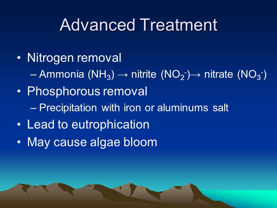 Advanced Treatment Nitrogen removal –Ammonia (NH 3 ) → nitrite (NO 2 - )→ nitrate (NO 3 - ) Phosphorous removal –Precipitation with iron or aluminums