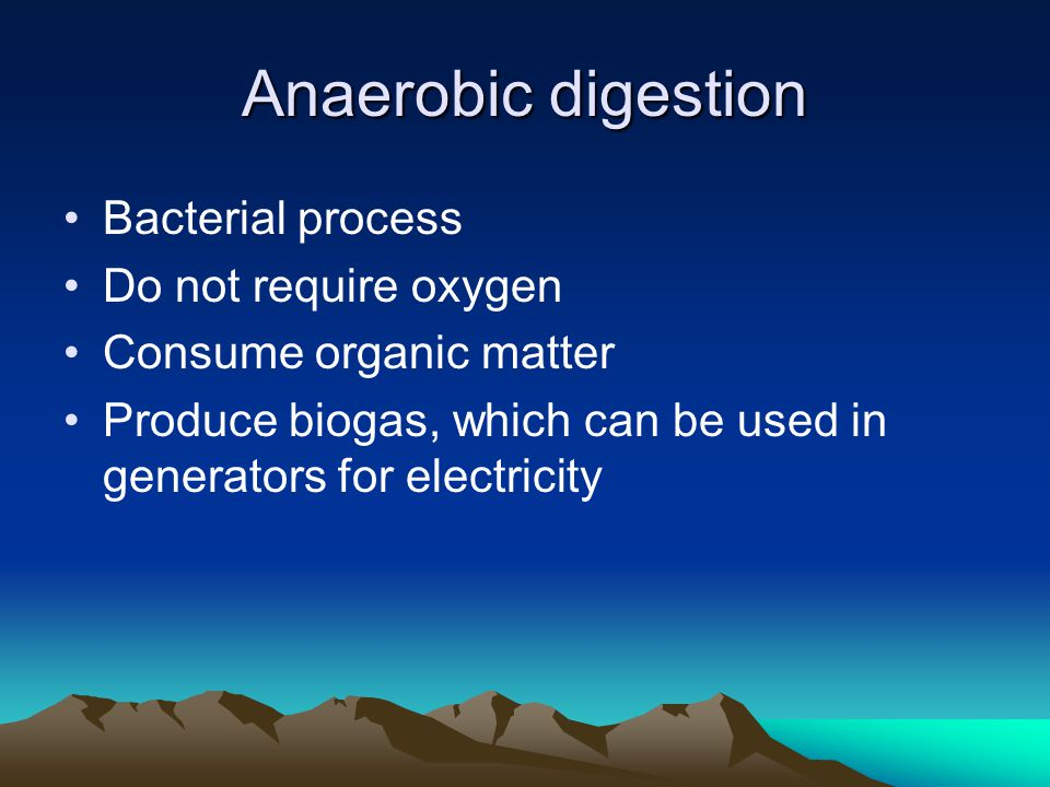 Anaerobic digestion Bacterial process Do not require oxygen Consume organic matter Produce biogas, which can be used in generators for electricity