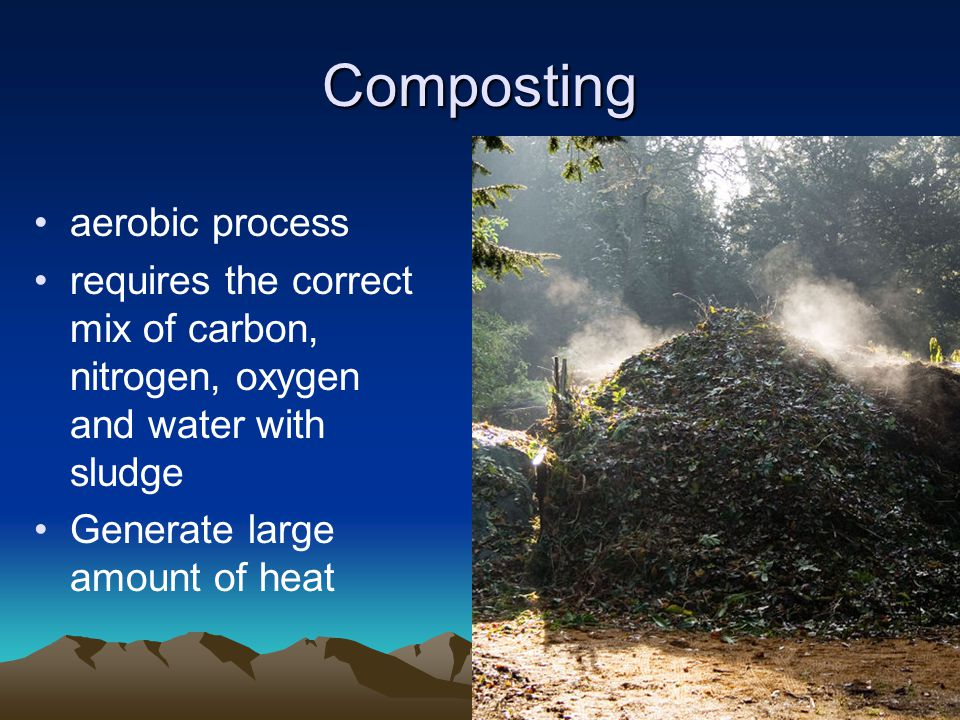 Composting aerobic process requires the correct mix of carbon, nitrogen, oxygen and water with sludge Generate large amount of heat