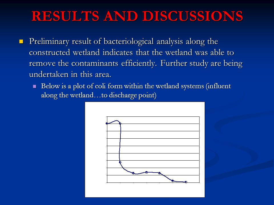 RESULTS AND DISCUSSIONS Preliminary result of bacteriological analysis along the constructed wetland indicates that the wetland was able to remove the contaminants efficiently.